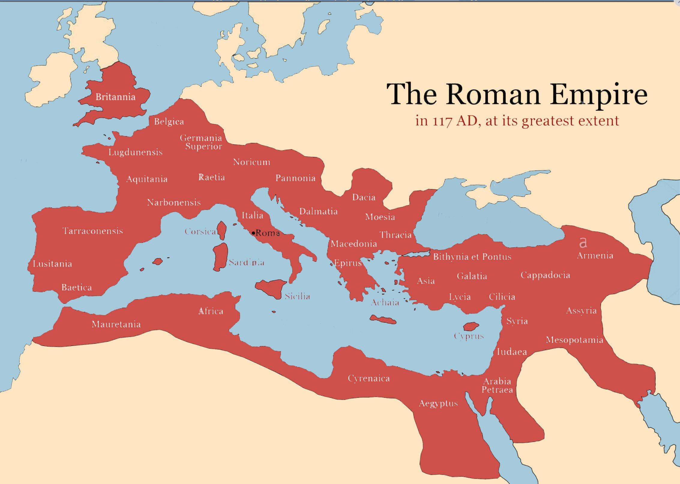 Massima estensione dell'Impero Romano