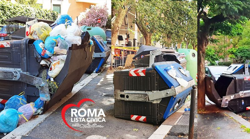 Roma-cassonetti-rifiuti-ribaltati