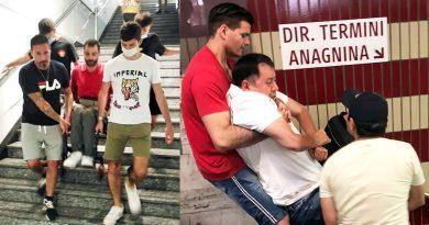 Disabile trasportato a braccia per scale mobili rotte a Roma