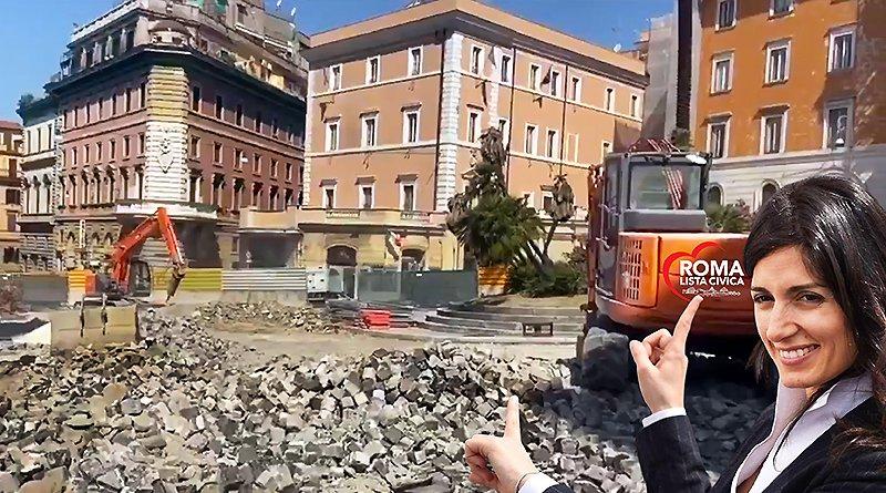 Virginia Raggi sampietrini piazza venezia e via nazionale