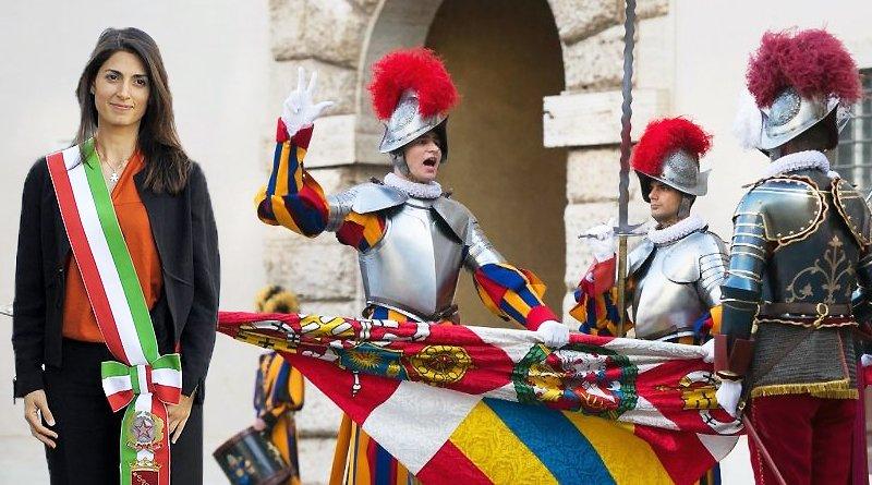 Virginia Raggi al giuramento delle Guardie Svizzere in Vaticano